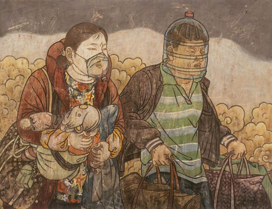 He-Jian-peintre-masques-coronavirus-lemaire-hebdo-vin-chine